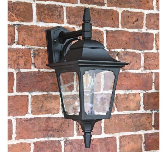Stockbridge Large Black Top Fix Wall Lantern – Traditional Throughout Popular Heitman Black Wall Lanterns (View 8 of 20)