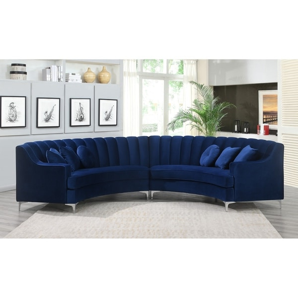 Strummer Velvet Sectional Sofas In Most Recent Shop Semi Circular Velvet Sectional Sofa – Overstock (View 11 of 20)