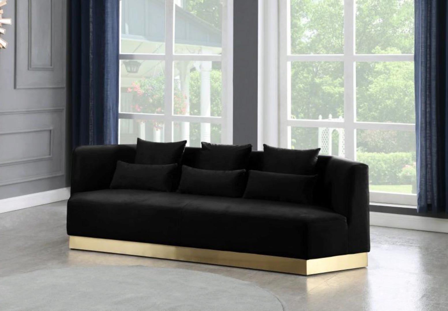 Strummer Velvet Sectional Sofas In Well Known Black Velvet Sofa Curved Design Contemporary Meridian (View 7 of 20)