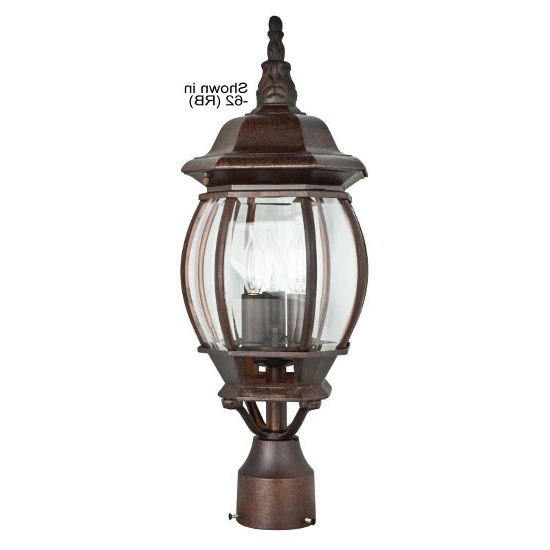 """Sunset Lighting F7810 3 Light 21"""" Height Outdoor Post Intended For Current Verne Oil Rubbed Bronze Beveled Glass Outdoor Wall Lanterns (View 6 of 20)"""