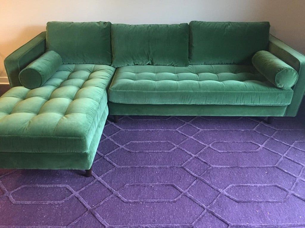 Sven Grass Green Right Sectional Sofa In  (View 3 of 20)