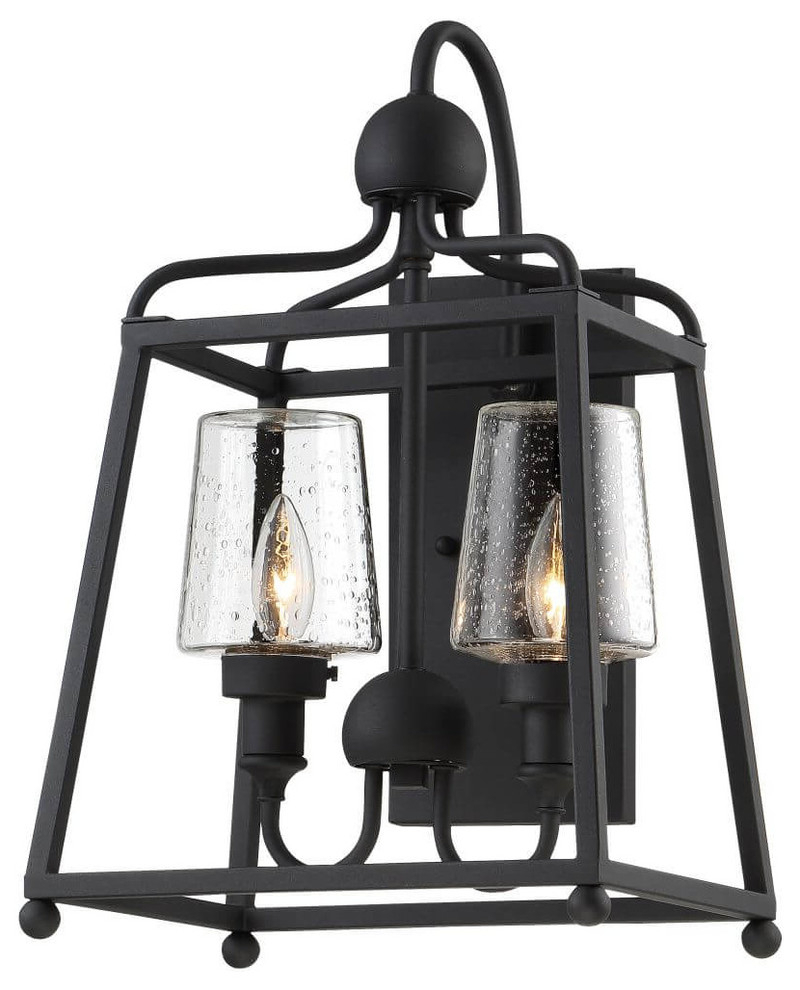 Sylvan 2 Light Outdoor Wall Mount Black Forged Seeded Within Famous Emaje Black Seeded Glass Outdoor Wall Lanterns (View 7 of 20)