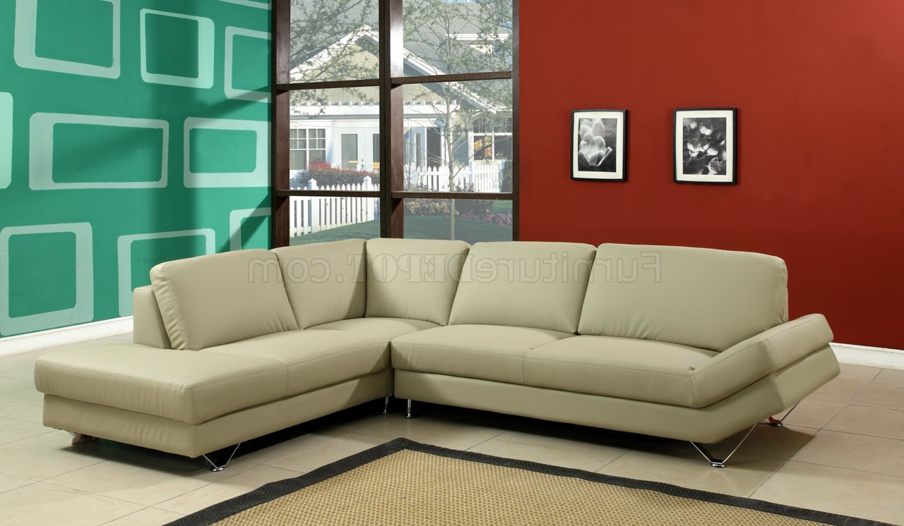 Taupe Full Bonded Leather Modern Sectional Sofa W/metal Legs Intended For 2018 3pc Ledgemere Modern Sectional Sofas (View 7 of 20)