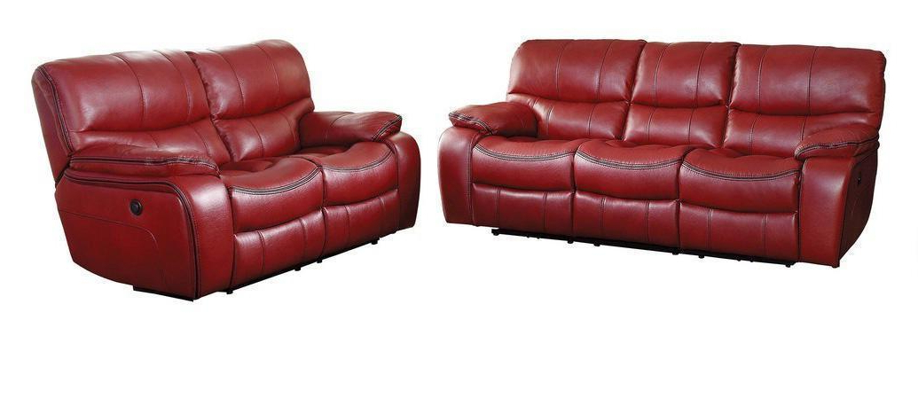 Titan Leather Power Reclining Sofas In Best And Newest Red Leather Gel Power Reclining Sofa Set 2 Pcs Homelegance (View 17 of 20)