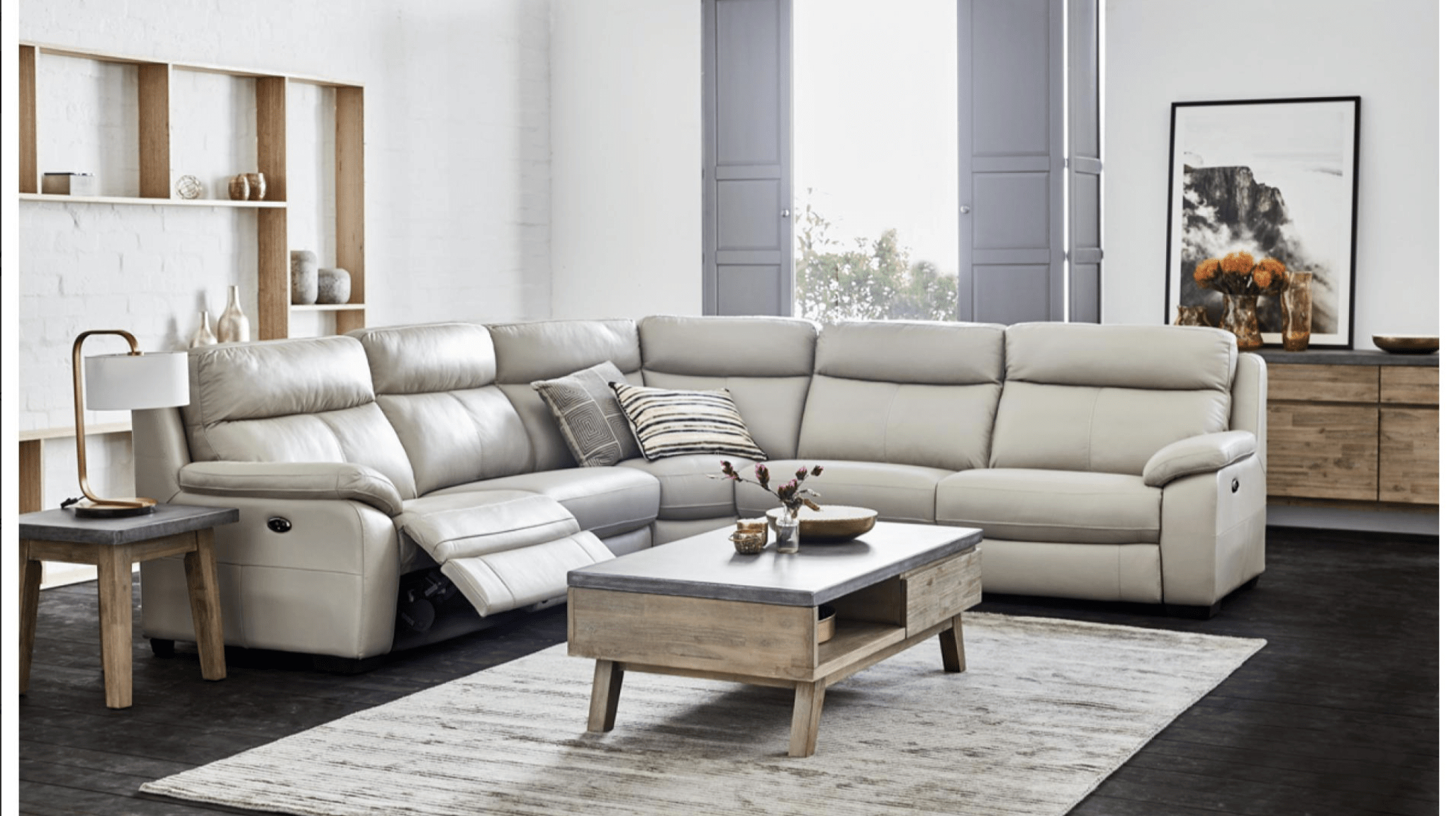 Titan Leather Power Reclining Sofas Intended For Well Known Titan Corner Suite – Corrimal Lounges (View 5 of 20)