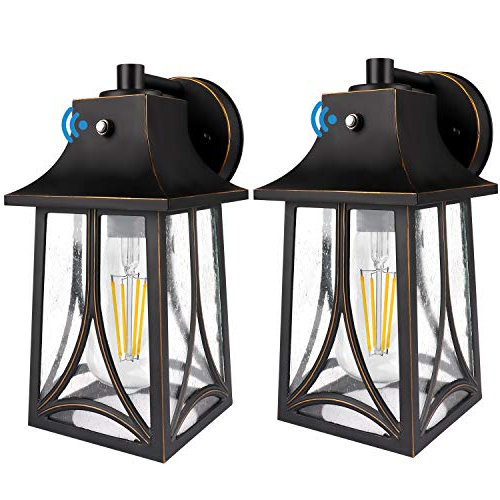 Featured Photo of Brook Black Seeded Glass Outdoor Wall Lanterns With Dusk To Dawn