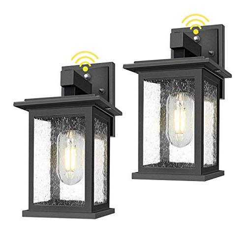 Top 10 Dawn To Dusk Outdoor Light Fixture – Patio Wall Within Well Liked Brook Black Seeded Glass Outdoor Wall Lanterns With Dusk To Dawn (View 6 of 20)