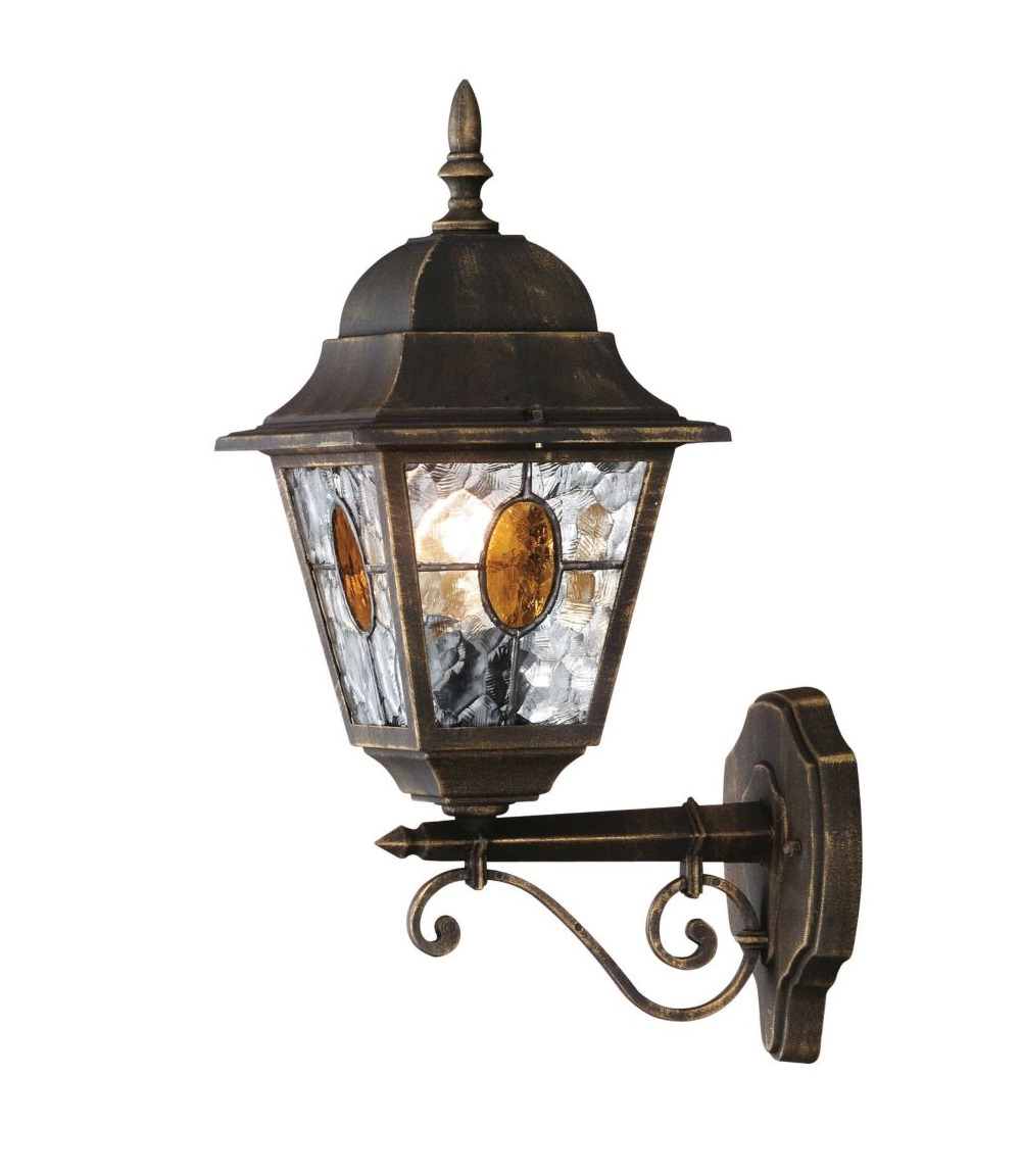 Traditional Black Gold Stained Glass Ip44 Outdoor Porch Inside Popular Carrington Beveled Glass Outdoor Wall Lanterns (View 11 of 20)
