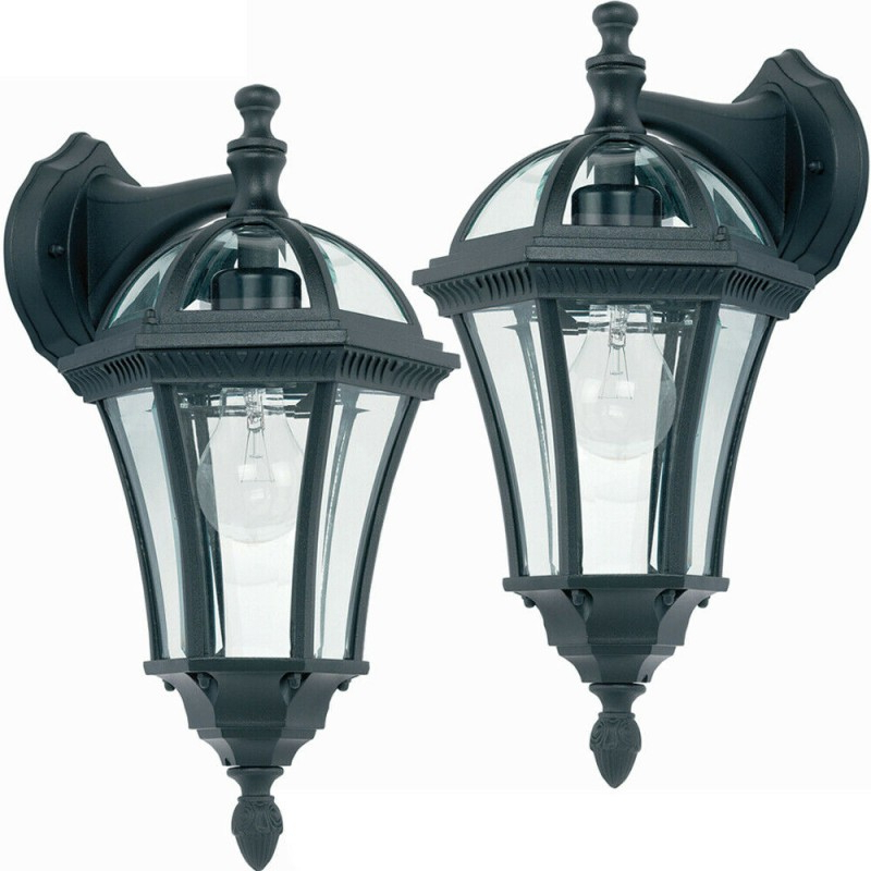 Trendy 2 Pack Ip44 Outdoor Wall Light  Matt Black & Glass Lantern Regarding Chicopee 2 – Bulb Glass Outdoor Wall Lanterns (View 20 of 20)
