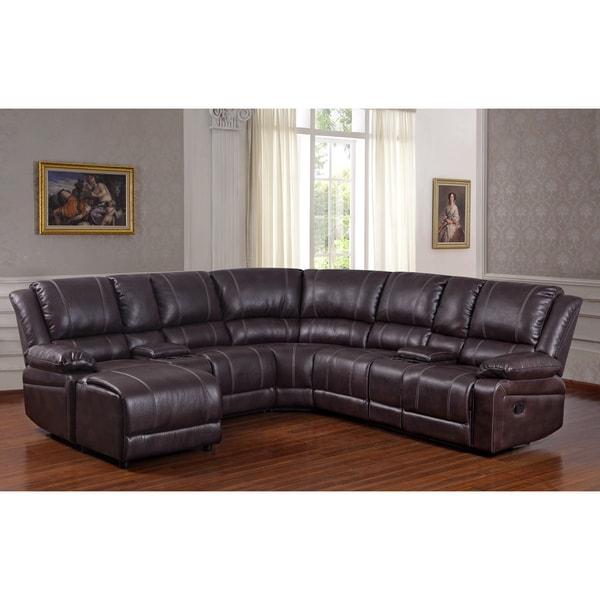 Trendy 3pc Faux Leather Sectional Sofas Brown Intended For Shop Donnie Brown Faux Leather Reclining Sectional Sofa (View 12 of 20)