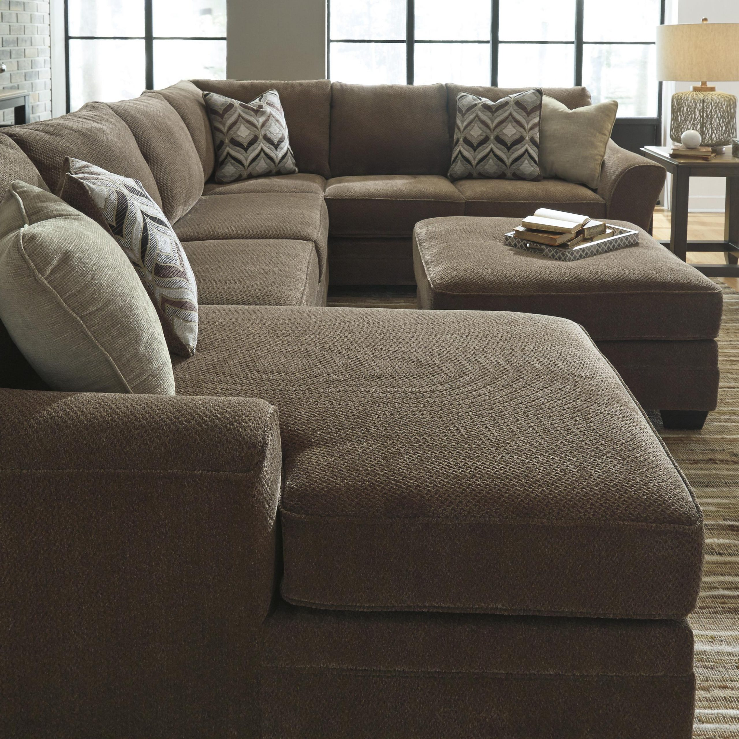 Trendy 3pc Polyfiber Sectional Sofas With Benchcraft Justyna Contemporary 3 Piece Sectional With (View 19 of 20)