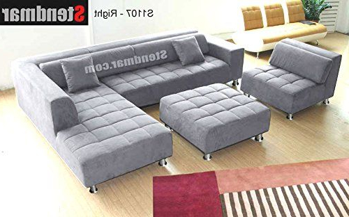 Trendy 4pc Beckett Contemporary Sectional Sofas And Ottoman Sets Inside 4pc Modern Grey Microfiber Sectional Sofa Chaise Chair (View 12 of 20)