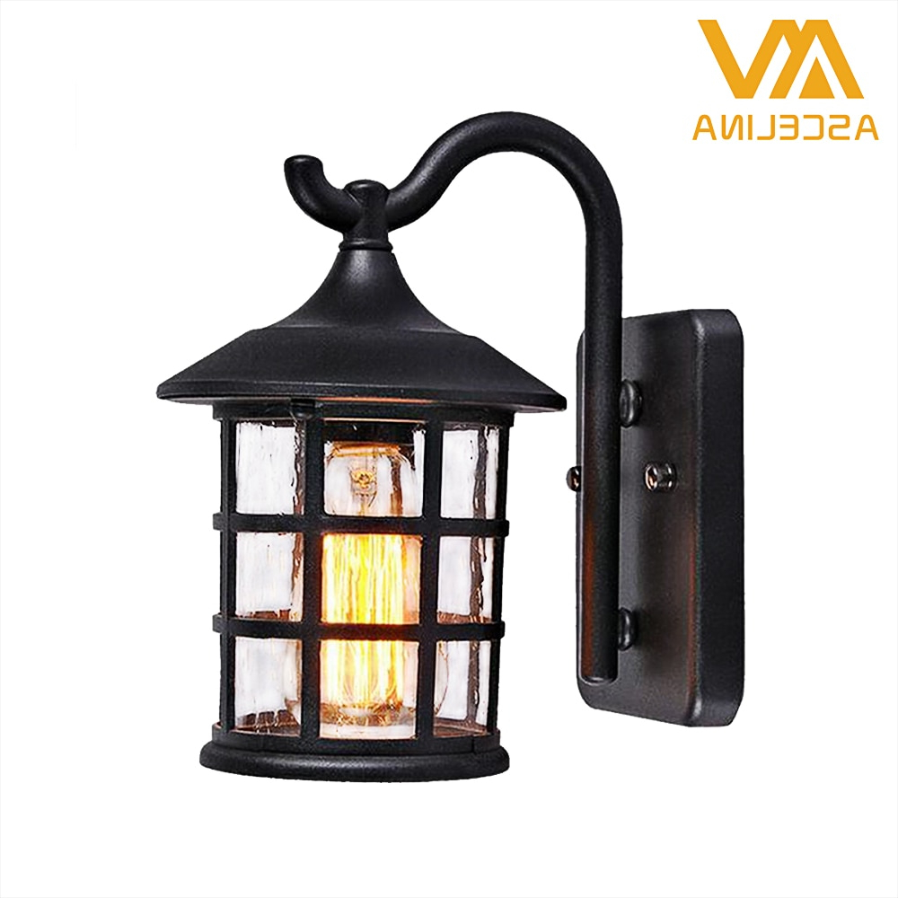 Trendy Antique Rustic Iron Waterproof Outdoor Wall Lamp Vintage With Regard To Rickey Matte Antique Black Wall Lanterns (View 9 of 20)