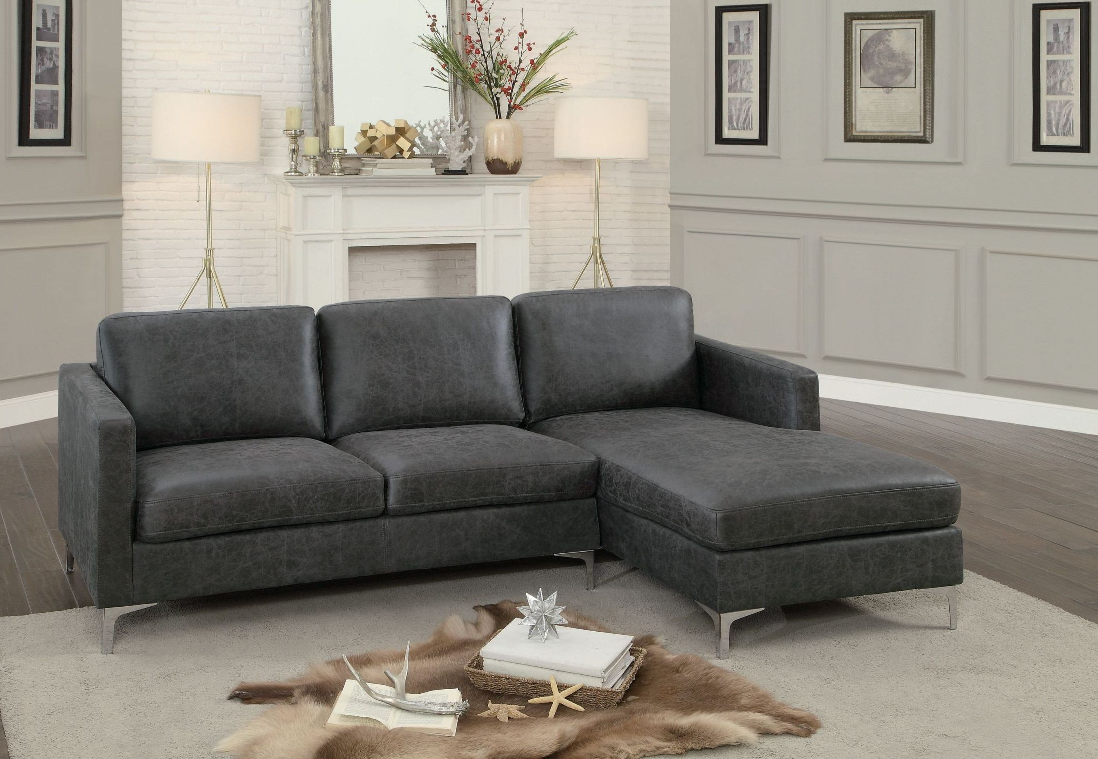 Trendy Breaux Grey Sectional Sofa From Homelegance (View 3 of 20)