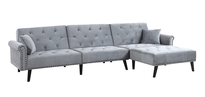 Trendy Contemporary Modern Velvet Sleeper Futon Sofa, Mid Century Regarding Dulce Mid Century Chaise Sofas Light Gray (View 16 of 20)