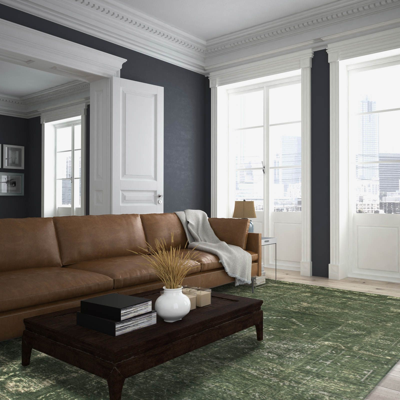 Trendy Cromwell Modular Sectional Sofas With Louis De Poortere Fading World Rugs 8271 Perrier Green (View 15 of 20)
