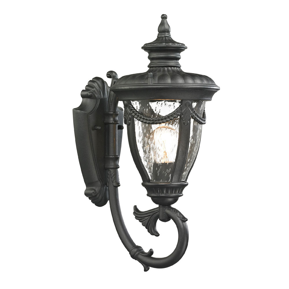 Trendy Elk 45075 1 Anise Traditional Textured Matte Black Outdoor With Mccay Matte Black Outdoor Wall Lanterns (View 3 of 20)