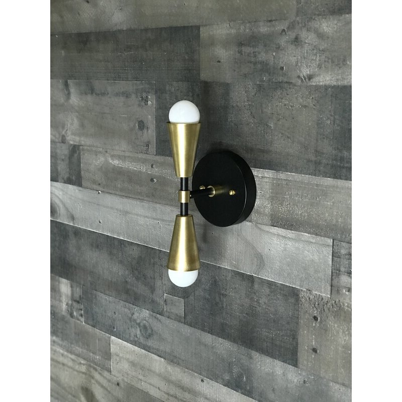 Trendy Everly Quinn Caputo 2 – Light Dimmable Armed Sconce Intended For Felsted Matte Black 2 – Bulb Outdoor Armed Sconces (View 2 of 20)