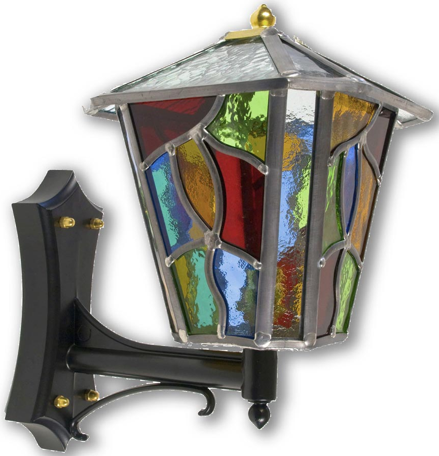Trendy Faunce Beveled Glass Outdoor Wall Lanterns Intended For Chepstow Multi Coloured Leaded Glass Upward Outdoor Wall (View 20 of 20)