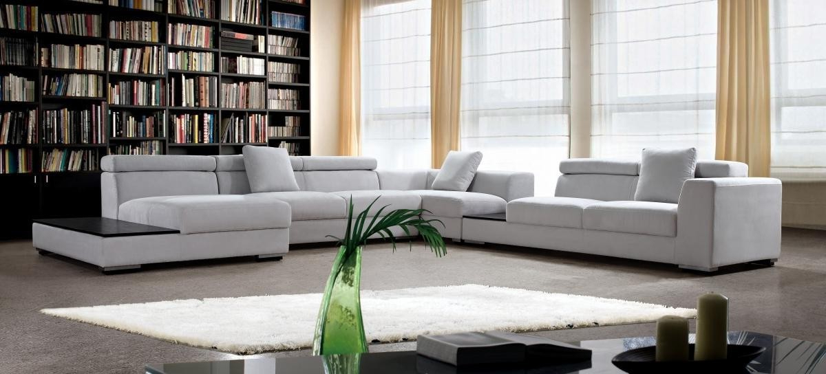 Trendy Four – Grey Microfiber Modern Sectional  Ge – Fabric Pertaining To 4pc Crowningshield Contemporary Chaise Sectional Sofas (View 19 of 20)