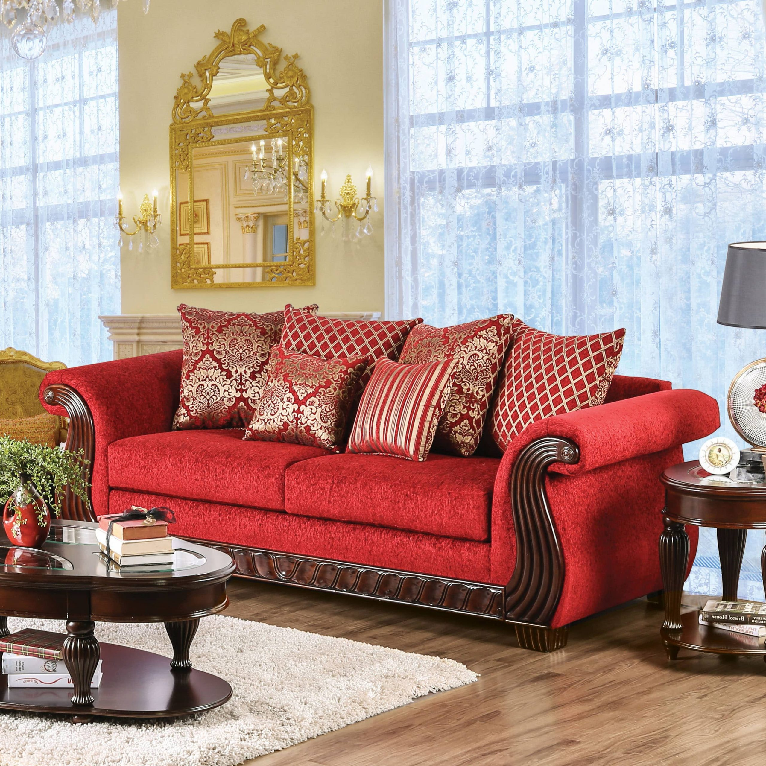 Trendy Furniture Of America Ferga Traditional Wood Trim Ruby Red Pertaining To Red Sofas (View 2 of 20)