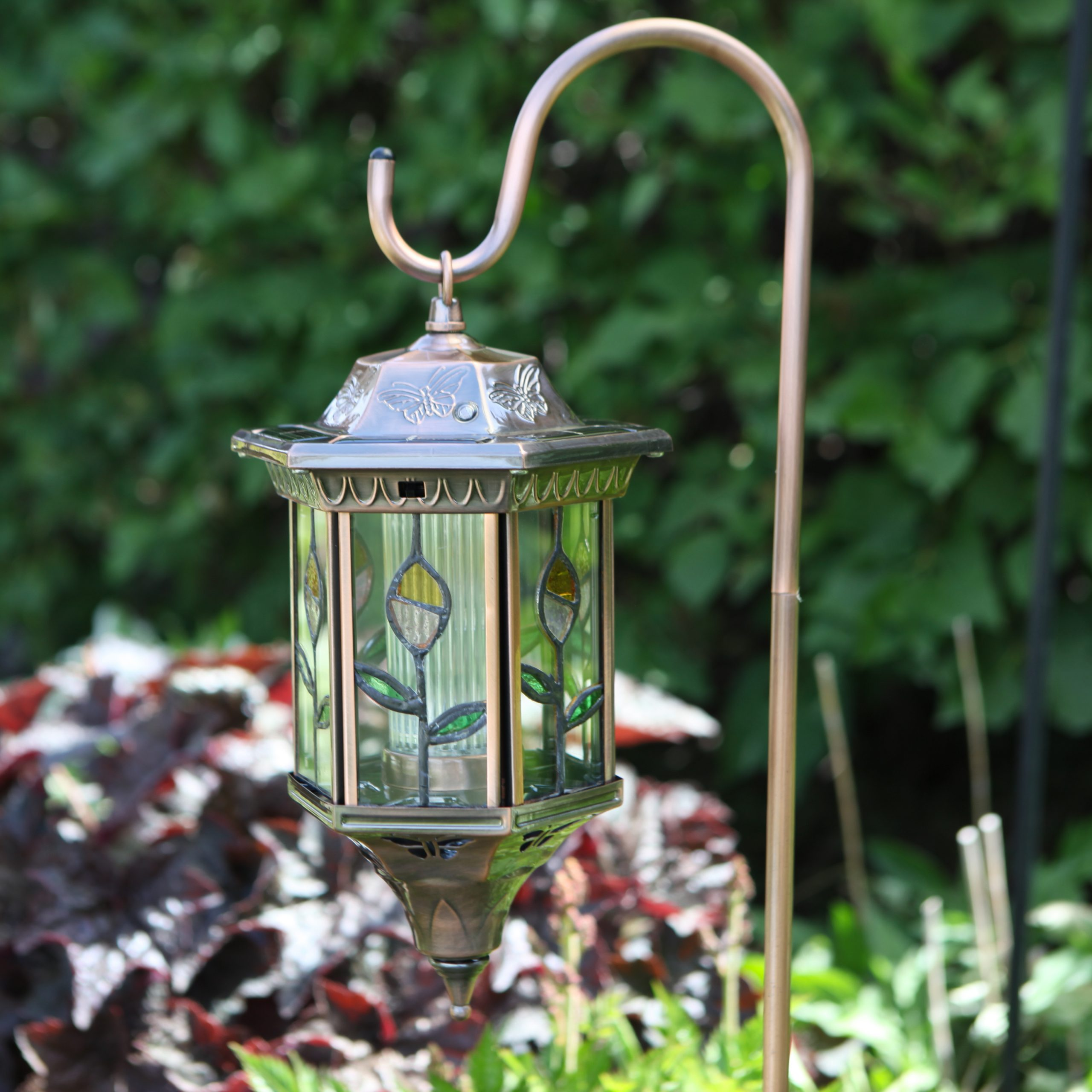 Trendy Homebrite Flora Stained Glass Solar Lantern At Hayneedle In Bayou Beveled Glass Outdoor Wall Lanterns (View 7 of 20)