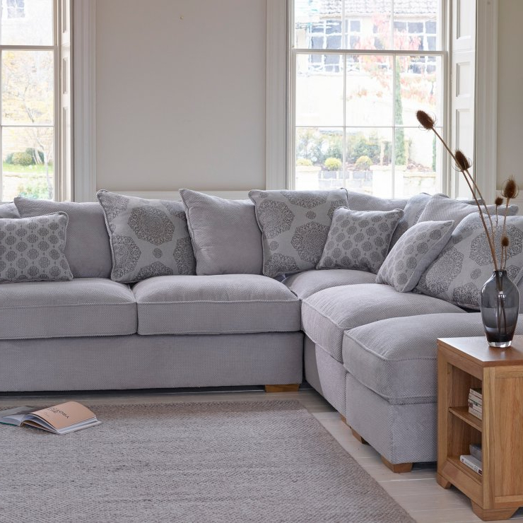 Trendy Lyvia Pillowback Sofa Sectional Sofas Inside Nebraska Right Corner Sofa With Pillow Back In Silver (View 5 of 20)