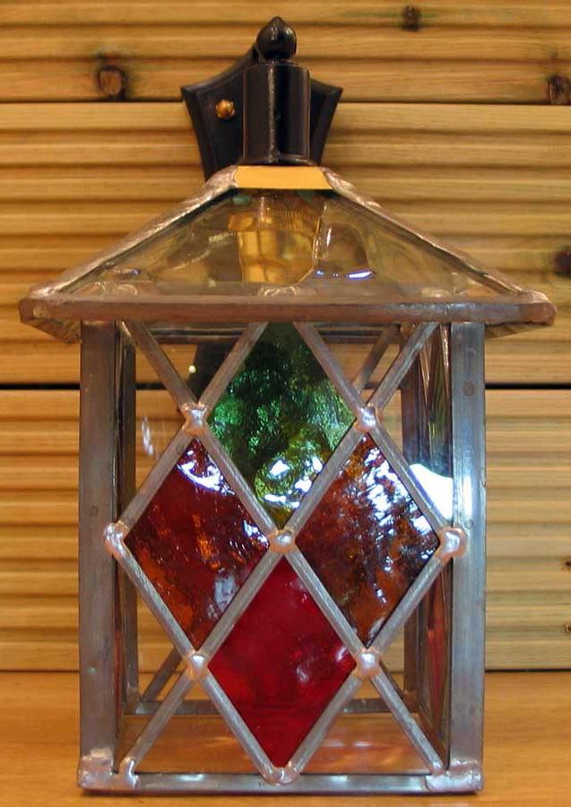 Trendy Multi Coloured Diamond Leaded Glass Outdoor Wall Lantern Pertaining To Gillian Beveled Glass Outdoor Wall Lanterns (View 14 of 20)