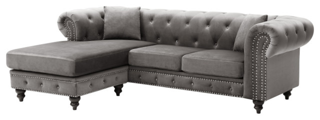 Trendy Nola Sofa Chaise – Traditional – Sectional Sofas – With Element Right Side Chaise Sectional Sofas In Dark Gray Linen And Walnut Legs (View 18 of 20)