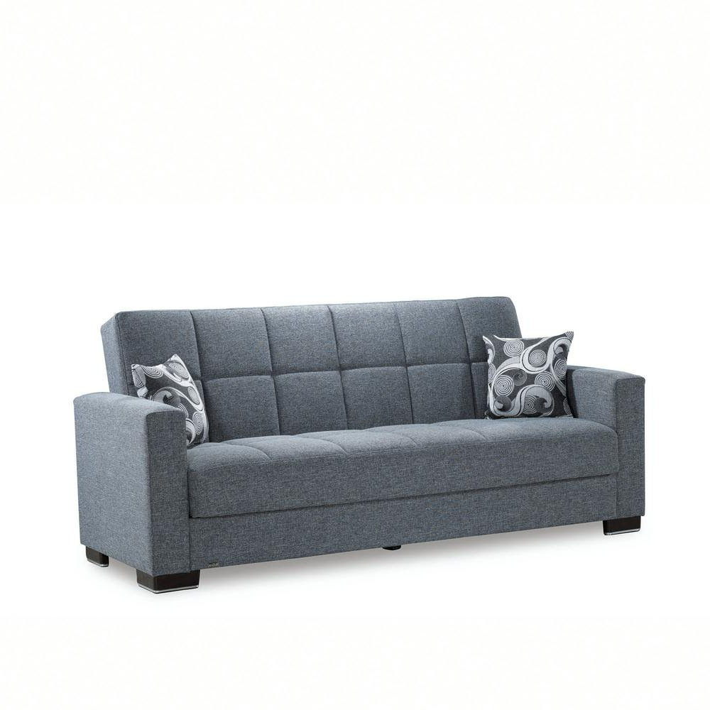 Trendy Ottomanson Armada Gray Fabric Upholstery Sofa Sleeper Bed With Hugo Chenille Upholstered Storage Sectional Futon Sofas (View 15 of 20)