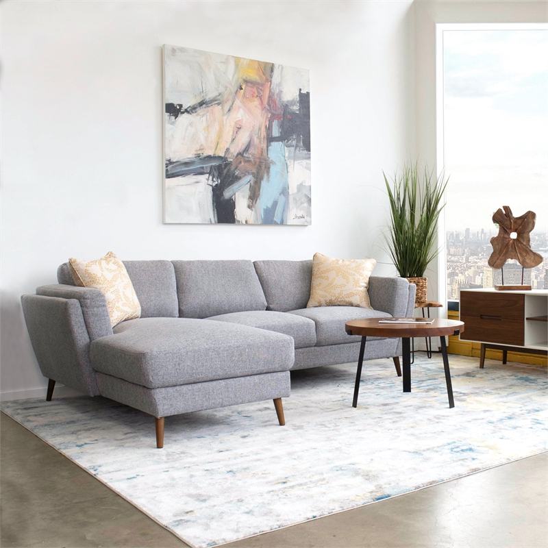 Trendy Pemberly Row Mid Century Modern Sadie Gray Sectional Sofa In Florence Mid Century Modern Right Sectional Sofas (View 19 of 20)