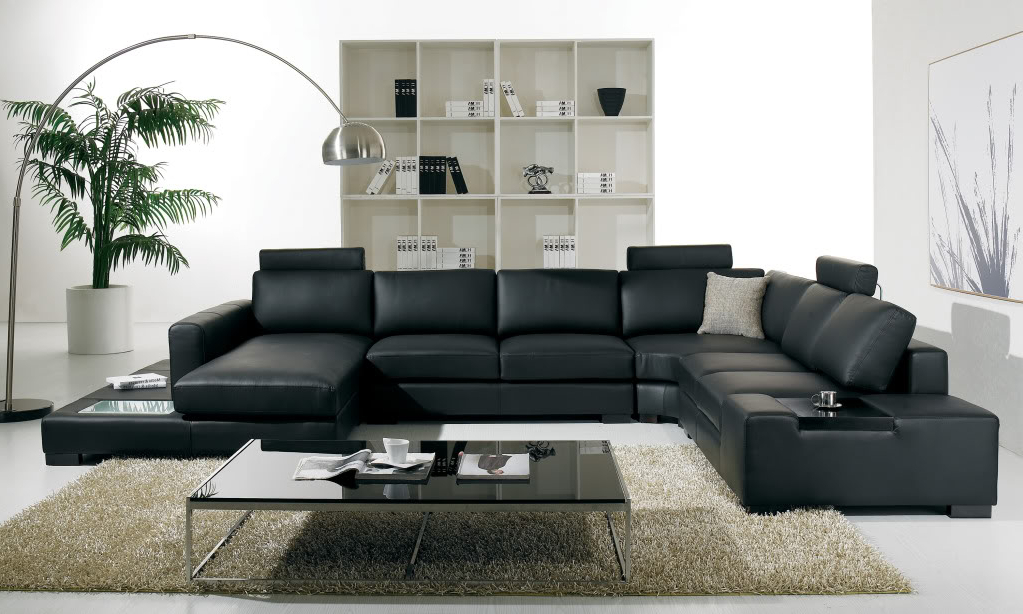Trendy T 35 Large U Shaped Modern Leather Sectional Sofa With Lights In Wynne Contemporary Sectional Sofas Black (View 5 of 20)