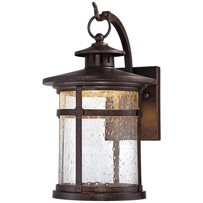 """Trendy Tangier Dark Bronze Wall Lanterns Throughout Callaway 11 1/2"""" High Rustic Bronze Led Outdoor Wall Light (View 16 of 20)"""