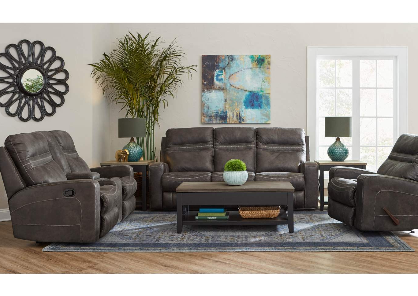 Trendy Walker Gray Power Reclining Sofas Within 56422 Hartley Double Motion Sofa – Durham Charcoal Sit (View 16 of 20)