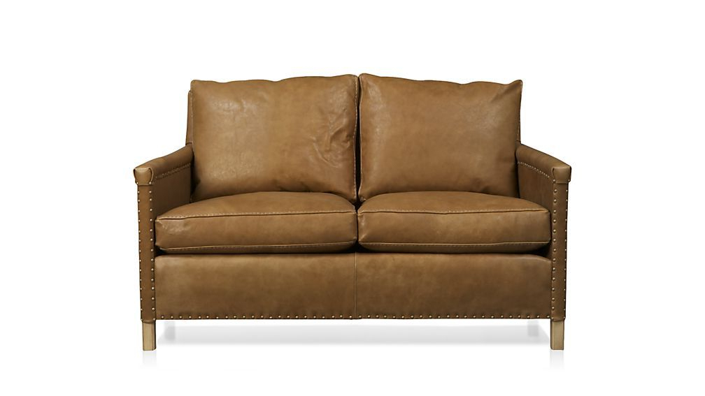 Trevor Brown Leather Loveseat With Nailheads + Reviews Regarding Trendy Trevor Sofas (View 3 of 20)