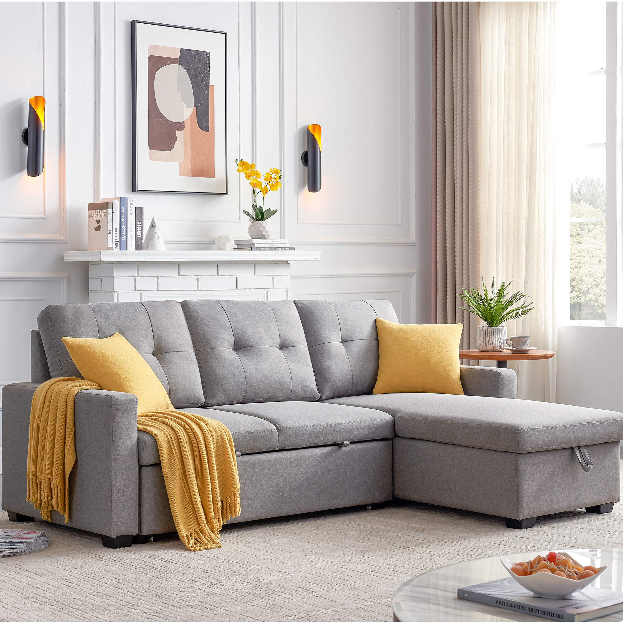 """Tufted 82"""" X 60"""" X 35"""" Modern Sofa Bed With Pull Out Throughout Well Liked Easton Small Space Sectional Futon Sofas (View 1 of 20)"""
