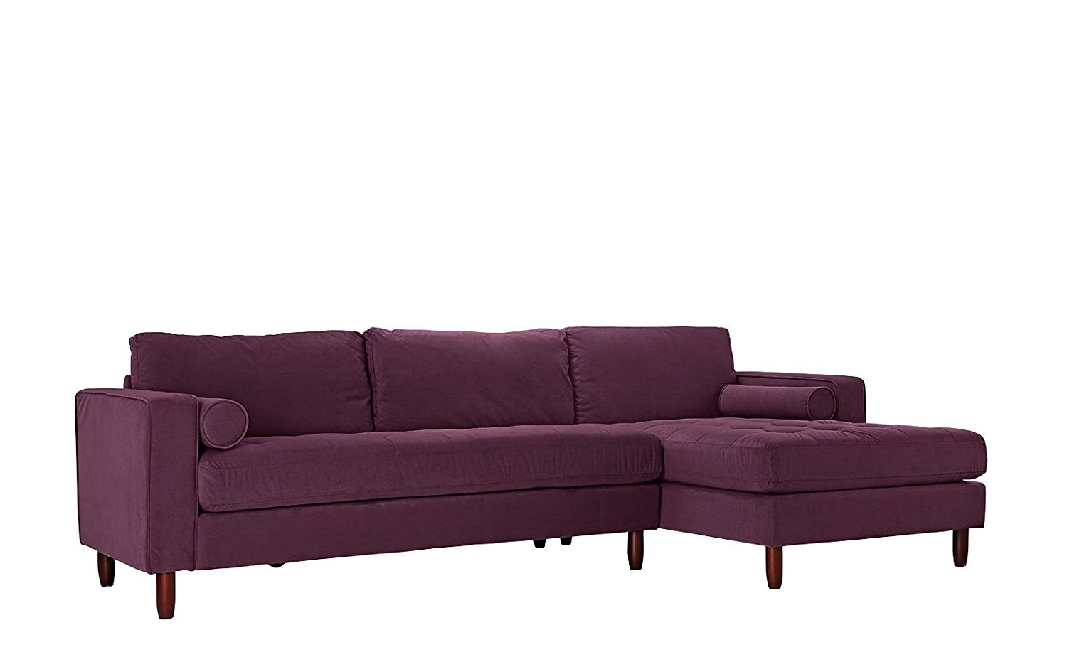 Tufted Velvet Fabric Sectional Sofa, L Shape Couch Left With Regard To Well Known Florence Mid Century Modern Velvet Left Sectional Sofas (View 7 of 20)