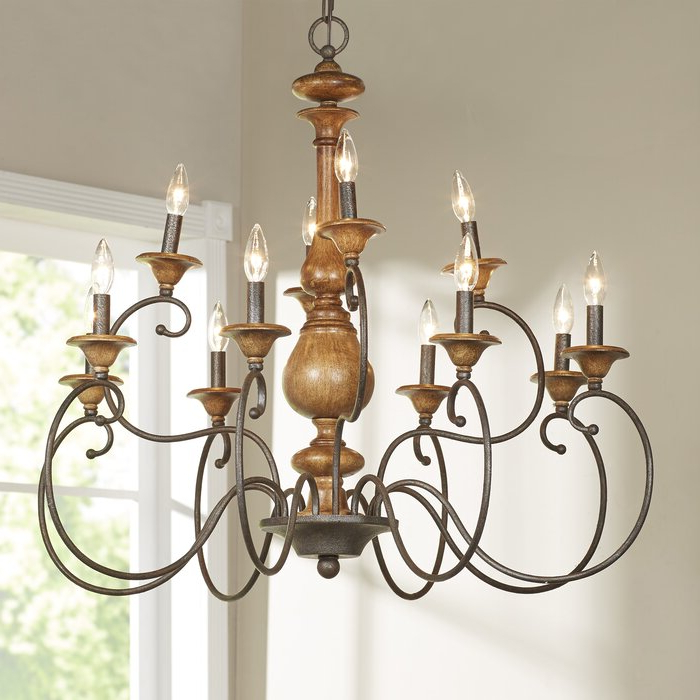 Turcot Wall Lanterns Pertaining To Most Up To Date Turcot 12 Light Chandelier & Reviews (View 7 of 20)