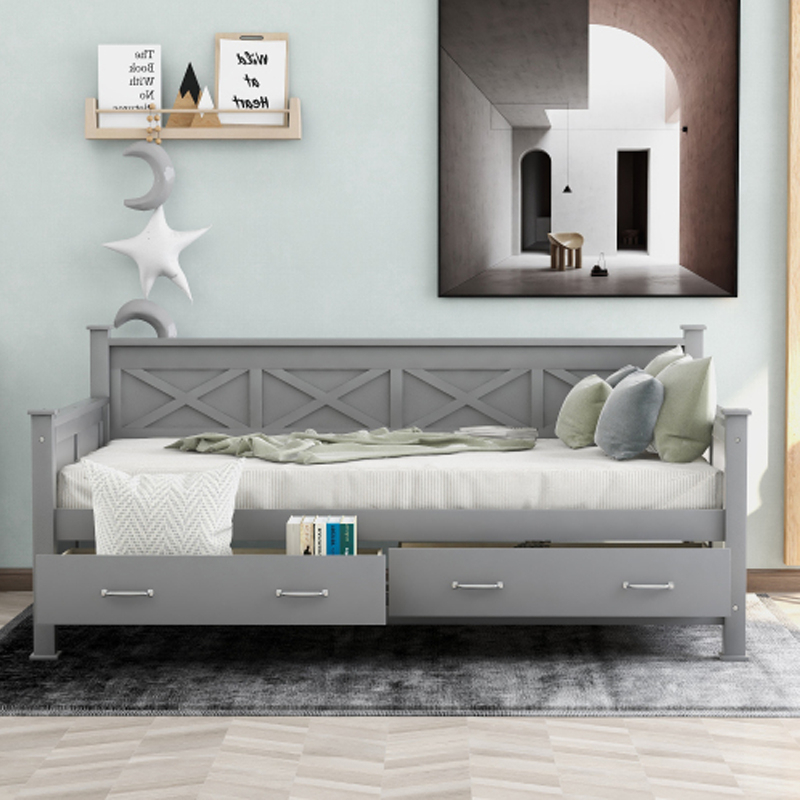 Twin Size Daybed Frame Pinewood Trundle Bed Sofa Withtwo Throughout Most Recent Twin Nancy Sectional Sofa Beds With Storage (View 6 of 20)