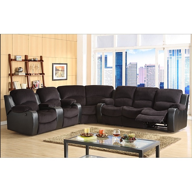 Tyson Microfiber Reclining 3 Piece Sectional Set Within Favorite 3pc Bonded Leather Upholstered Wooden Sectional Sofas Brown (View 20 of 20)