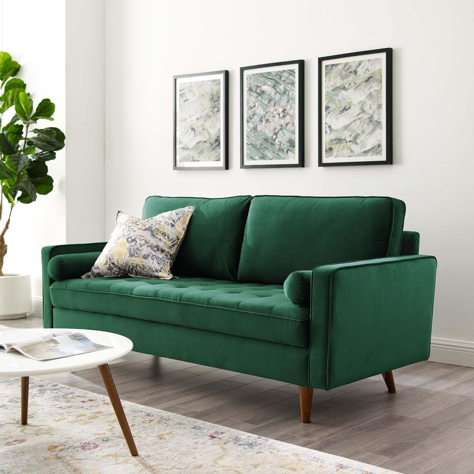 Valour Performance Velvet Sofa Green Throughout Popular French Seamed Sectional Sofas In Velvet (View 2 of 20)