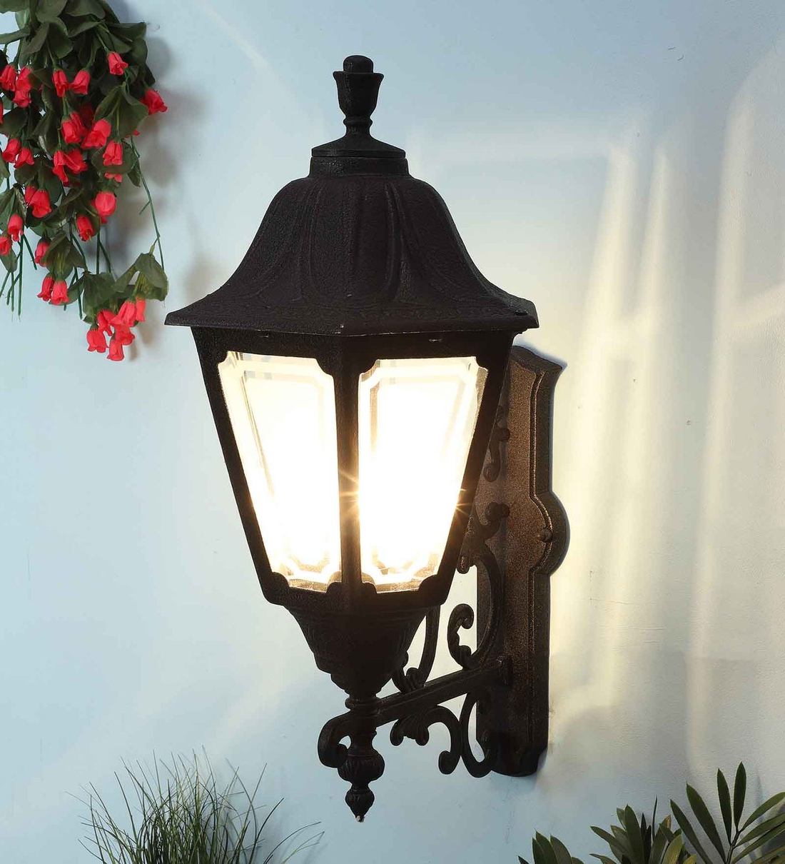 Vendramin Black Glass Outdoor Wall Lanterns Pertaining To Most Up To Date Buy Black Aluminium Outdoor Wall Lightsuperscape (View 6 of 20)