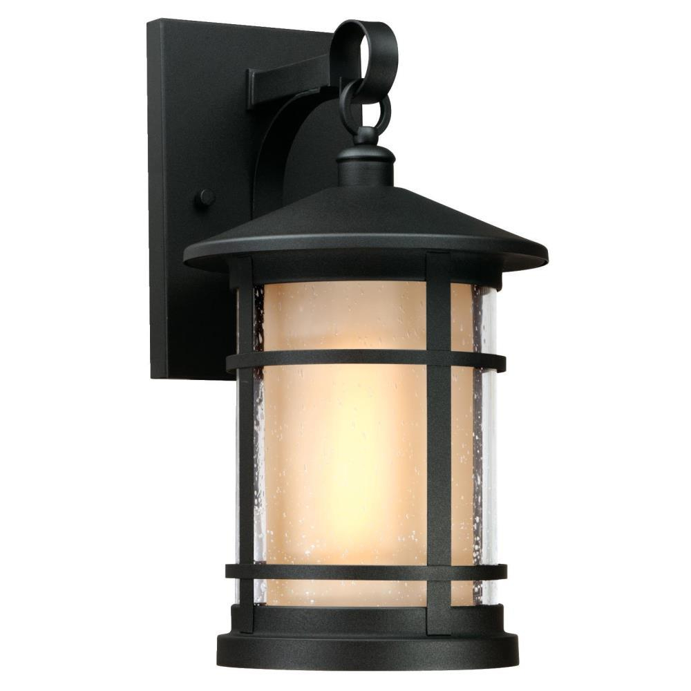 Vendramin Black Glass Outdoor Wall Lanterns Regarding Famous Westinghouse Albright Textured Black 1 Light Outdoor (View 12 of 20)
