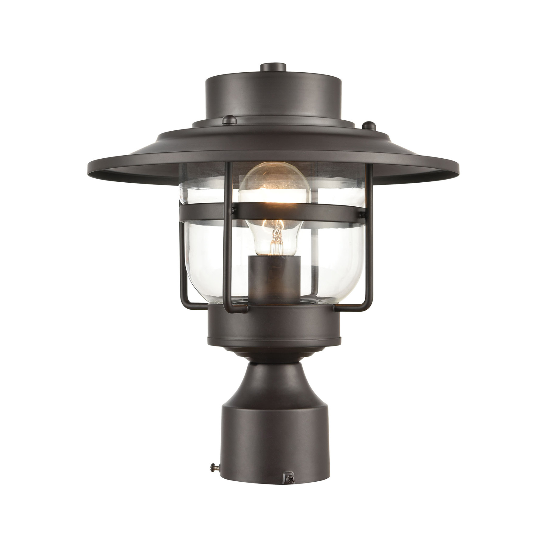Verne Oil Rubbed Bronze Beveled Glass Outdoor Wall Lanterns Inside Most Current Elk Lighting 46073/1 1 Light Outdoor Post Mount In Oil (View 3 of 20)