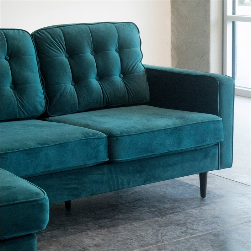 Verona Mid Century Reversible Sectional Sofas For 2019 Mid Century Modern Kayle Teal Velvet Reversible Sectional (View 1 of 20)