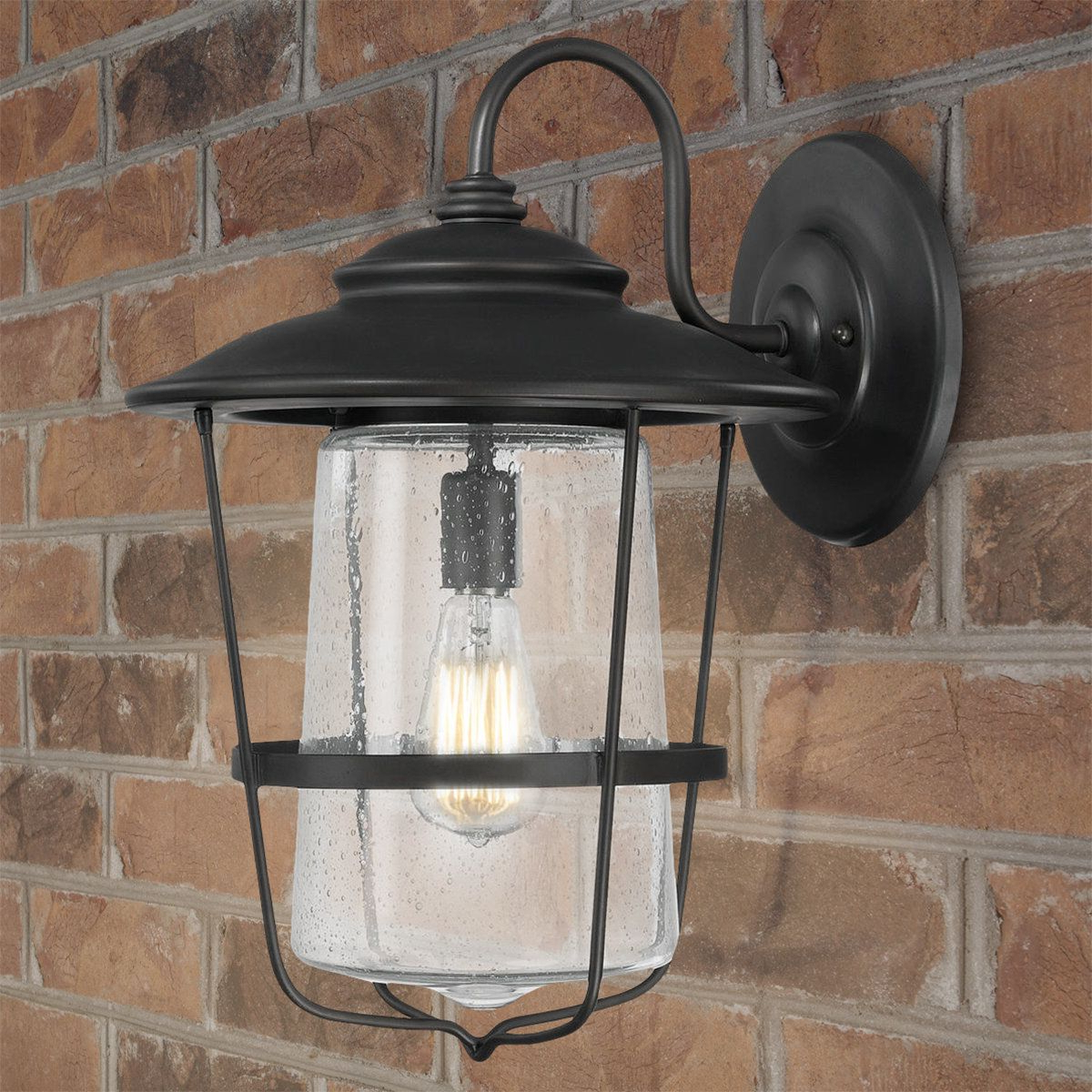Wall Inside Most Popular Palma Black/clear Seeded Glass Outdoor Wall Lanterns (View 2 of 20)