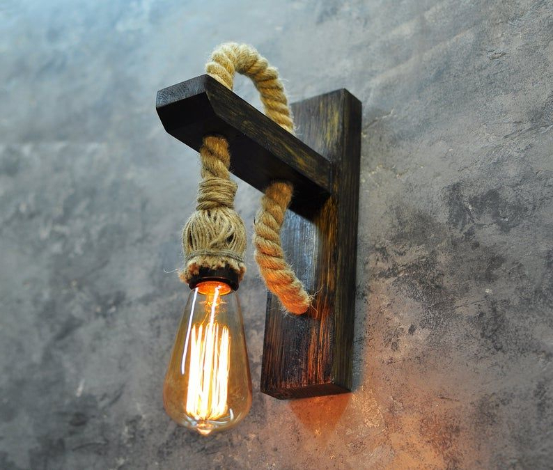 Wall Sconce Wood Lamp With Rope Rustic Lighting Wooden With Fashionable Cano Wall Lanterns (View 20 of 20)