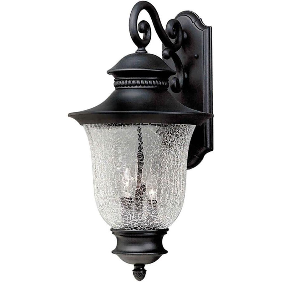 Walland Black Outdoor Wall Lanterns With Regard To 2018 Shop 23 In H Black Outdoor Wall Light At Lowes (View 6 of 20)