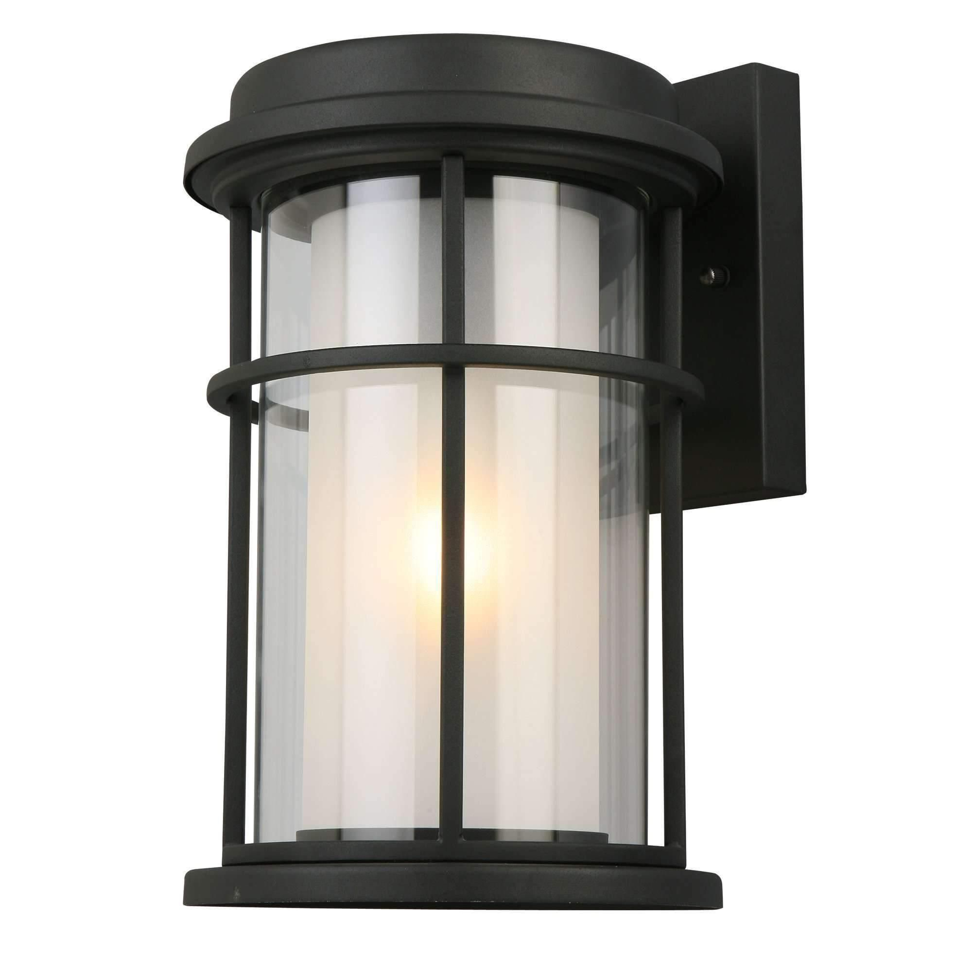 Well Known 1x60w Outdoor Wall Light W/ Matteblack Finish & Frosted Throughout Keiki Matte Black Outdoor Wall Lanterns (View 17 of 20)