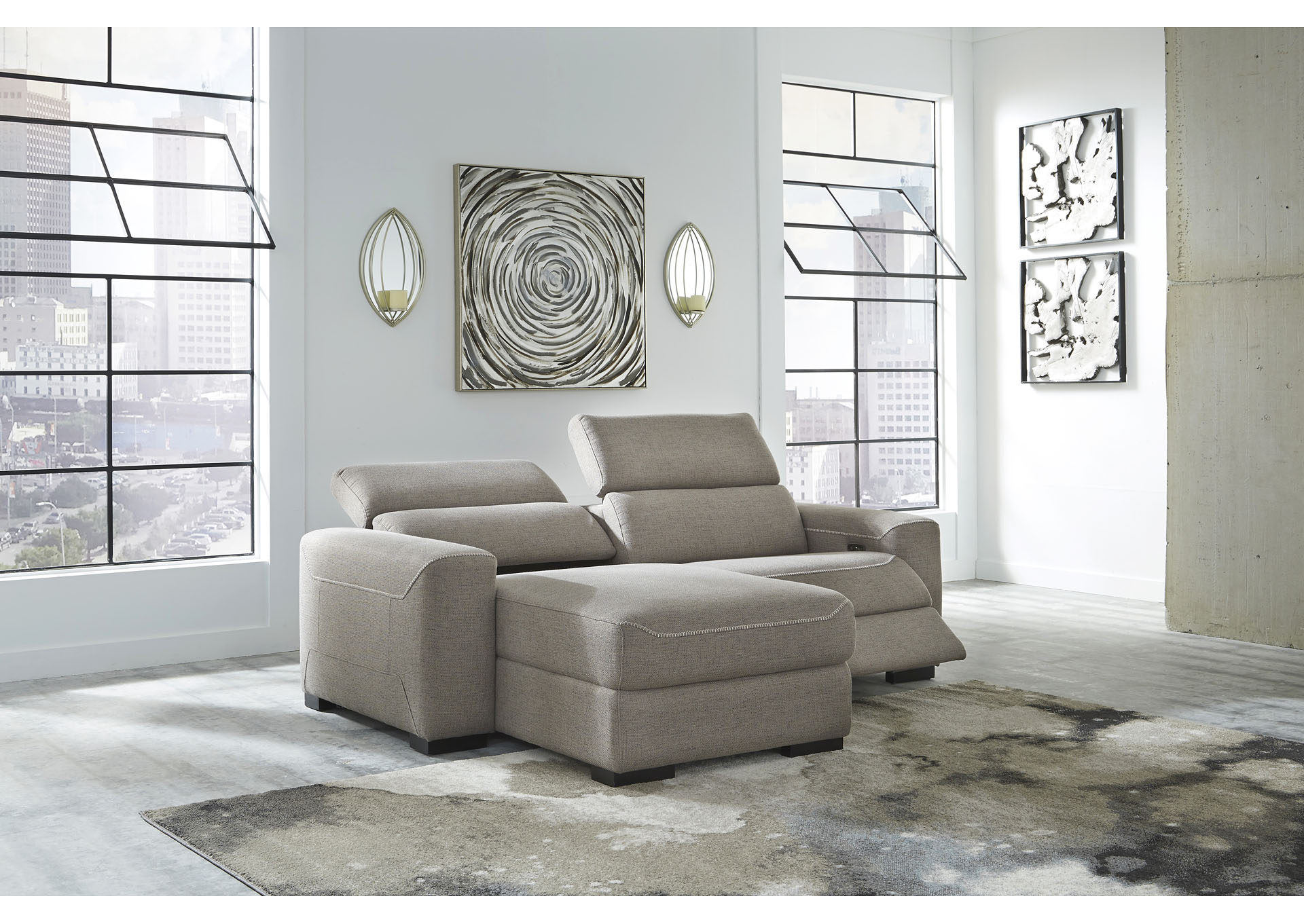 Well Known 2pc Maddox Right Arm Facing Sectional Sofas With Chaise Brown Throughout Mabton Gray Right Arm Facing Power Reclining 2 Piece (View 13 of 20)